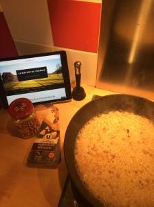 Risotto moutarde & poulet préparation